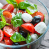 healthy and easy tomato fresh basil leaves mozzarella salad