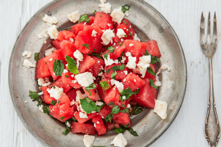 salad with watermelon feta and mint