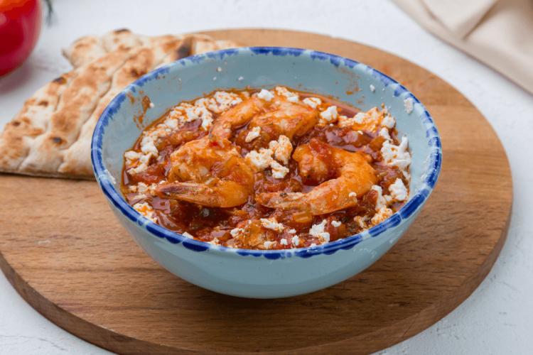 shrimps-saganaki with feta tomato sauce and ouzo recipe